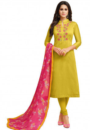 Embroidered Chanderi Cotton Straight Suit in Olive Green