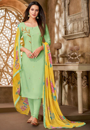 Embroidered Chanderi Cotton Straight Suit in Pastel Green