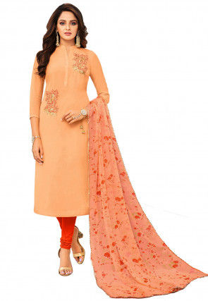 Embroidered Chanderi Cotton Straight Suit in Peach