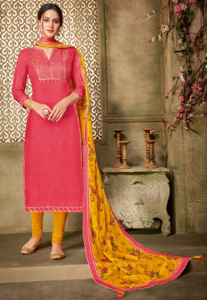 Embroidered Chanderi Cotton Straight Suit in Pink