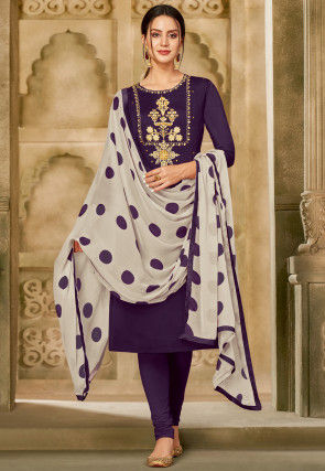Embroidered Chanderi Cotton Straight Suit in Purple
