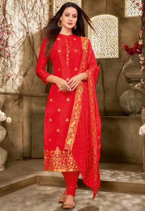 Embroidered Chanderi Cotton Straight Suit in Red