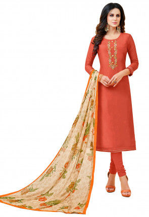 Embroidered Chanderi Cotton Straight Suit in Rust