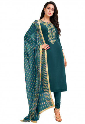 Embroidered Chanderi Cotton Straight Suit in Teal Blue