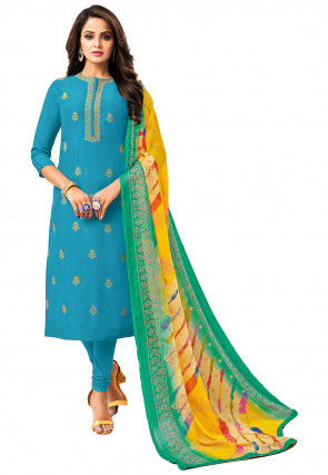 Embroidered Chanderi Cotton Straight Suit in Turquoise