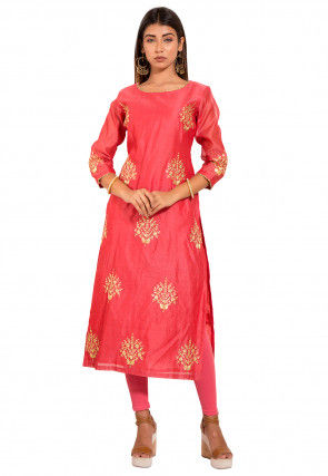 Embroidered Chanderi Kurta Set in Coral Red