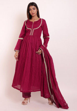Embroidered Chanderi Pakistani Suit in Wine
