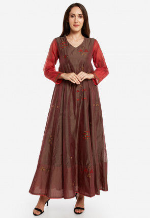 Embroidered Chanderi Silk A Line Kurta in Brown and Red