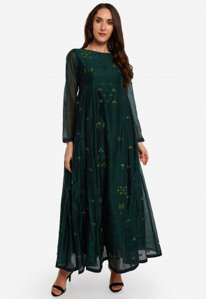 Embroidered Chanderi Silk A Line Kurta in Dark Teal Green
