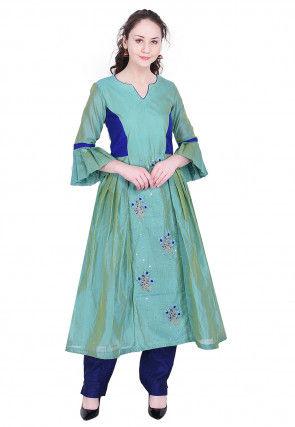 Embroidered Chanderi Silk A Line Kurta in Light Teal Green
