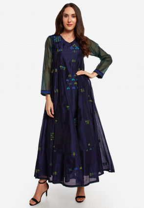 Embroidered Chanderi Silk A Line Kurta in Navy Blue