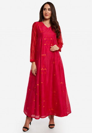 Embroidered Chanderi Silk A Line Kurta in Red