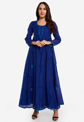 Embroidered Chanderi Silk A Line Kurta in Royal Blue