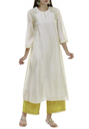 Embroidered Chanderi Silk A Line Kurta Set in Off White