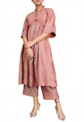 Embroidered Chanderi Silk A Line Kurta Set in Old Rose