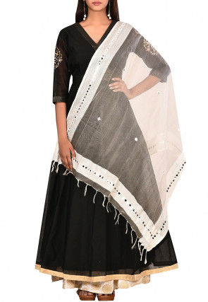 Embroidered Chanderi Silk A Line Suit in Black