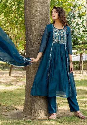 Embroidered Chanderi Silk A Line Suit in Teal Blue