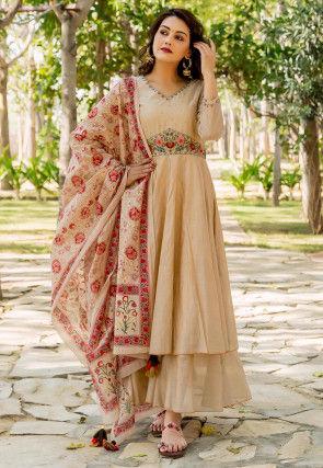 Embroidered Chanderi Silk Abaya Style Suit in Beige