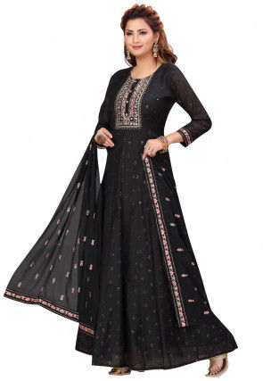 Embroidered Chanderi Silk Abaya Style Suit in Black