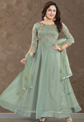 Embroidered Chanderi Silk Abaya Style Suit in Dusty Green