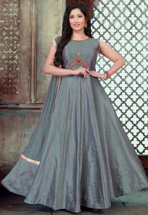 Embroidered Chanderi Silk Abaya Style Suit in Grey