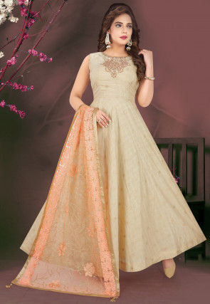 Embroidered Chanderi Silk Abaya Style Suit in Light Fawn