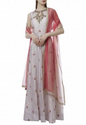 Embroidered Chanderi Silk Abaya Style Suit in Light Grey