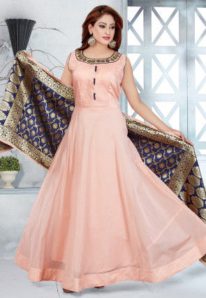 Embroidered Chanderi Silk Abaya Style Suit in Light Peach