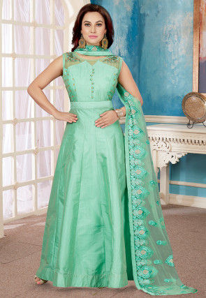 Embroidered Chanderi Silk Abaya Style Suit in Light Teal Green