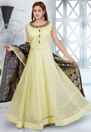 Embroidered Chanderi Silk Abaya Style Suit in Light Yellow