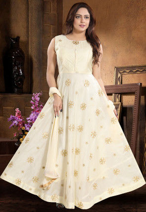 Embroidered Chanderi Silk Abaya Style Suit in Off White