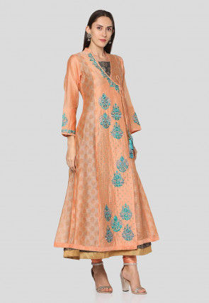 Embroidered Chanderi Silk Abaya Style Suit in Peach