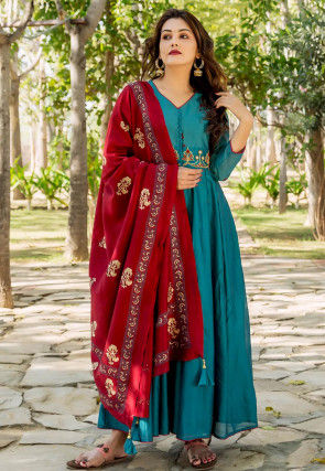 Embroidered Chanderi Silk Abaya Style Suit in Teal Blue