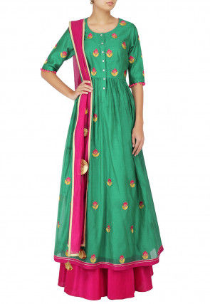 Embroidered Chanderi Silk Abaya Style Suit in Teal Green