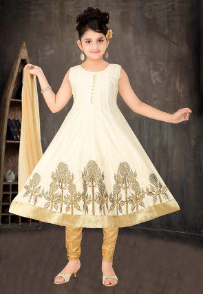 Embroidered Chanderi Silk Anarkali Suit in Cream