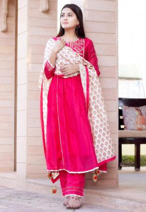 Embroidered Chanderi Silk Anarkali Suit in Fuchsia