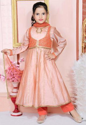 Embroidered Chanderi Silk Anarkali Suit in Peach