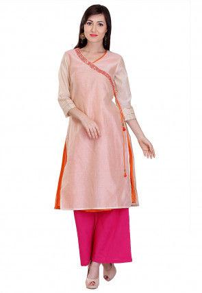 Embroidered Chanderi Silk Angrakha Style Kurta Set in Beige