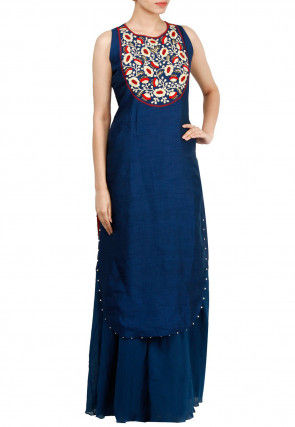 Embroidered Chanderi Silk Apple Hem Kurta Set in Dark Blue