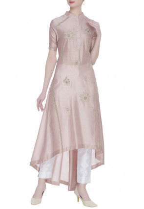 Embroidered Chanderi Silk Asymmetric Kurta Set in Rose Gold
