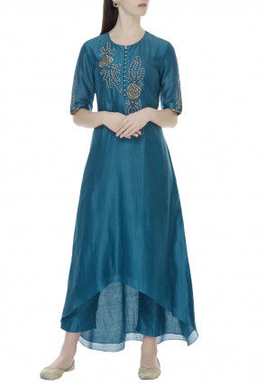 Embroidered Chanderi Silk Asymmetric Kurta Set in Teal Blue