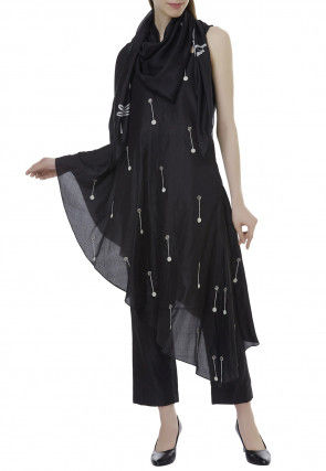 Embroidered Chanderi Silk Asymmetric Tunic Set in Black