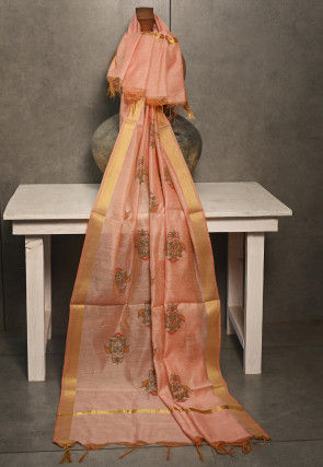 Embroidered Chanderi Silk Dupatta in Peach