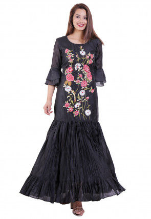 Embroidered Chanderi Silk Fish Cut Dress in Black