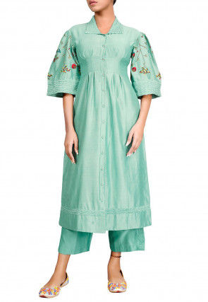 Embroidered Chanderi Silk Front Open Kurta Set in Pastel Green