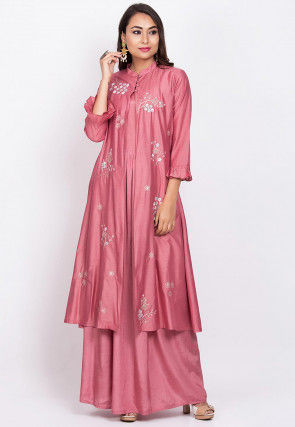 Embroidered Chanderi Silk Jacket Style Gown in Old Rose