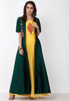 Embroidered Chanderi Silk Jacket Style Kurta in Yellow and Dark Green