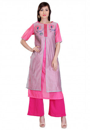 Embroidered Chanderi Silk Jacket Style Kurta Set in Grey and Pink