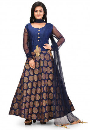 Embroidered Chanderi Silk Jacquard Abaya Style Suit in Navy Blue