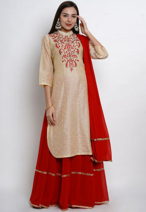 Embroidered Chanderi Silk Jacquard Lehenga in Beige